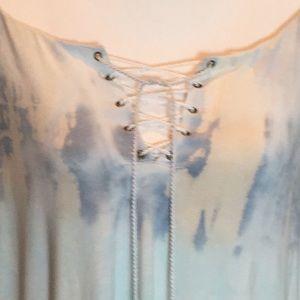 Sky Tops - 🆕 Sky Boho Off Shoulder Top Lace Up Neck Built-in